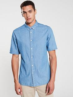 v-by-very-short-sleeved-denim-shirt-blue