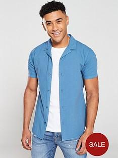 v-by-very-linen-look-cuban-collar-shirt-airforce