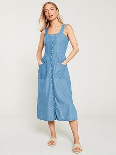 warehouse-strappy-button-through-denim-dress-blue