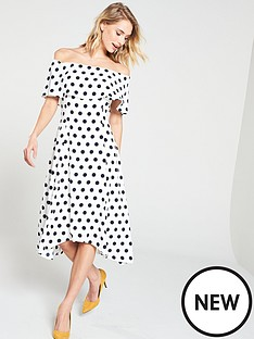 wallis-bardot-spot-hanky-hem-dress-blackwhitenbsp