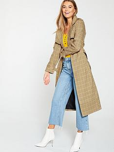 warehouse-clean-check-trench-coat-multi