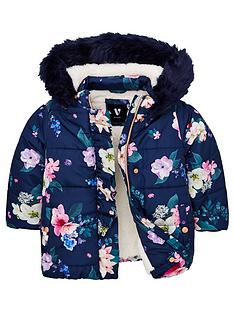 v-by-very-girls-faux-fur-hooded-floral-coat-navy