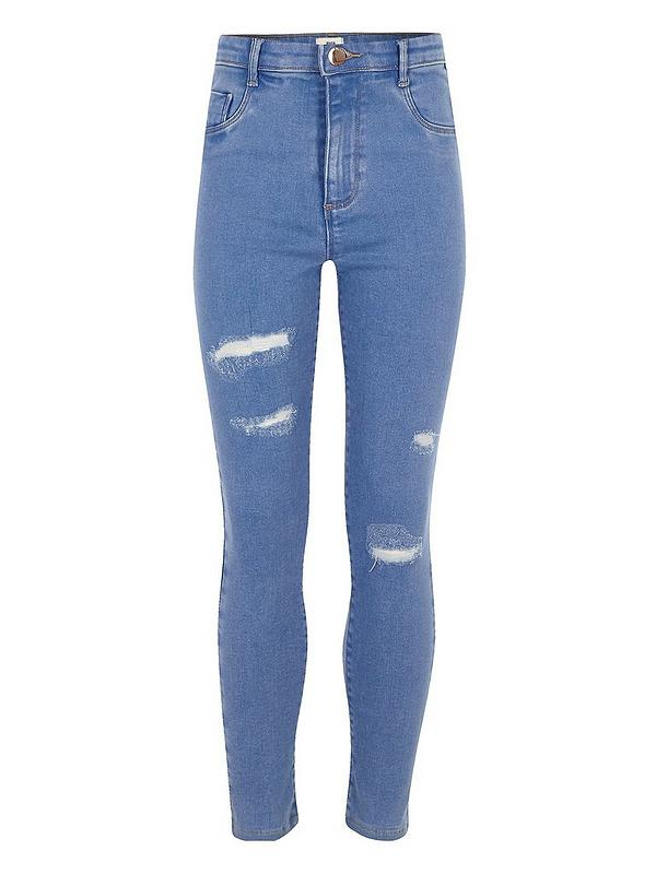 multiple colors latest discount quite nice River Island Girls Blue Molly Ripped Detail Jeggings ...