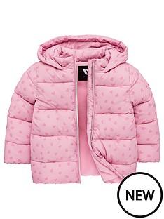 04f570ecc531 Mini V by Very Girls Heart Print Padded Hooded Coat - Pink