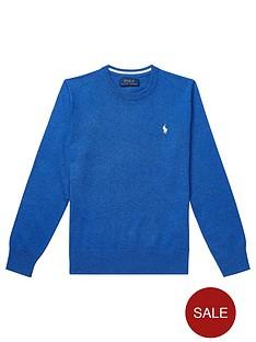 36ada586 Ralph Lauren Boys Crew Neck Knitted Jumper - Blue