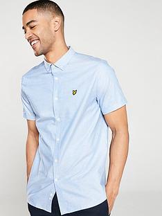 lyle-scott-short-sleeve-oxford-shirt-light-blue