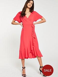 whistles-abrigail-frill-wrap-dress-flamingo