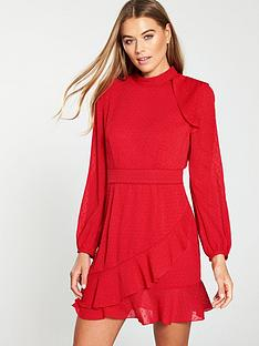whistles-high-neck-dobby-frill-dress-red