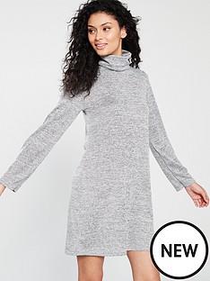 v-by-very-snit-roll-neck-dress-grey