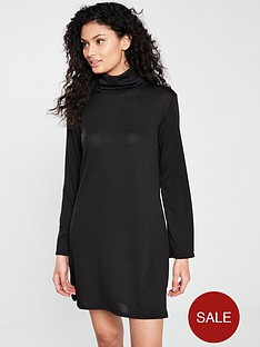 v-by-very-lightweight-knitted-roll-neck-dress-black