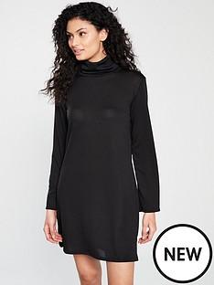 v-by-very-snit-roll-neck-dress-black