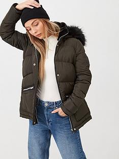 v-by-very-faux-fur-trim-chevron-padded-coat-khaki