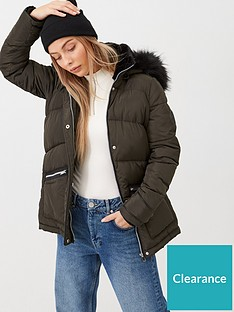 v-by-very-faux-fur-trim-chevron-padded-coat-khaki