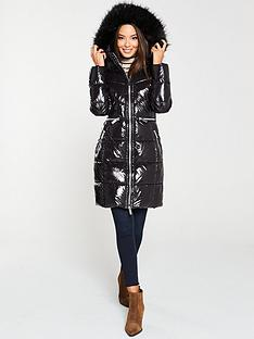 v-by-very-long-high-shine-padded-coat-with-faux-fur-trim-black