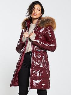 v-by-very-high-shine-longnbsppadded-coat-plum