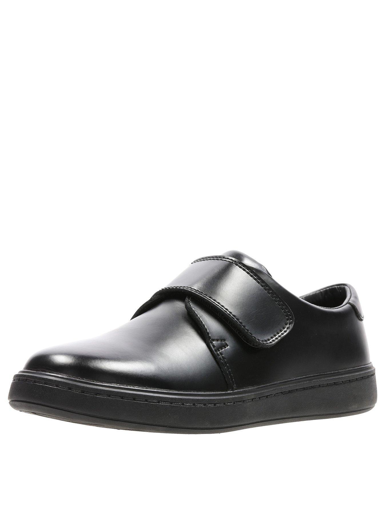 Hula Thrill Boys Black Hook /& Loops Clarks School Formal Shoes