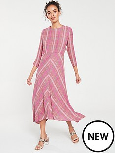 mango-wool-mix-check-midi-dress-pink