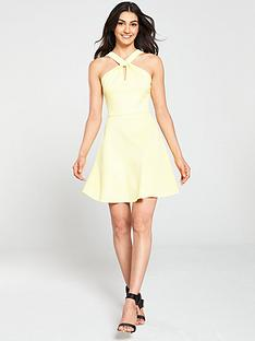 ted-baker-freeda-twist-neck-skater-dress-yellow
