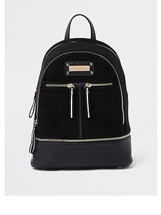 river-island-medium-zip-backpack-black