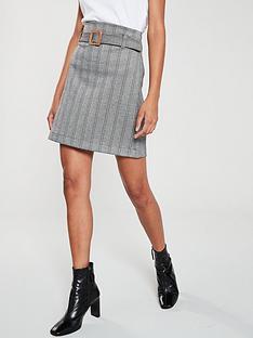 mango-herringbone-buckle-detail-skirt-grey