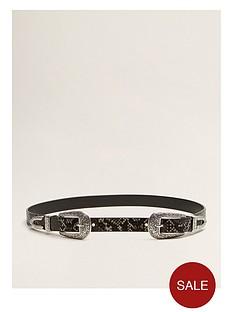 mango-double-buckle-snake-print-belt-dark-grey
