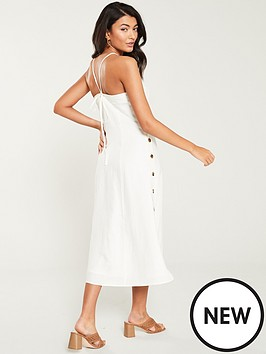 b9e61eeb82 WHISTLES Nina Button Linen Dress - White. View larger