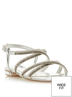 ea225c06776d Dune London Wide Fit Neevie Diamante Flat Sandal - Silver