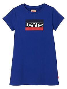 levis-girls-short-sleeve-logo-t-shirt-dress-blue