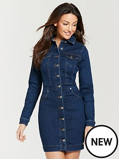 michelle-keegan-fitted-denim-mini-dress-indigo