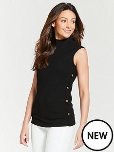 michelle-keegan-button-side-rib-jersey-top-black