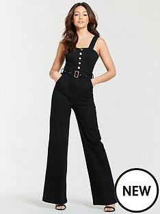 5fb1843051e Michelle Keegan Wide Leg Denim Jumpsuit - Black