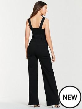 69807f9068 Michelle Keegan Wide Leg Denim Jumpsuit - Black
