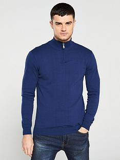 v-by-very-quarternbspzip-neck-jumper-navy-blue