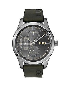 hugo-hugo-discover-grey-multi-dial-green-logo-embossed-leather-strap-mens-watch