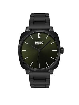 hugo-hugo-own-green-and-black-box-case-dial-black-ip-stainless-steel-bracelet-mens-watch