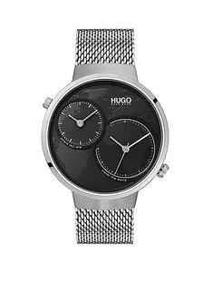 hugo-hugo-travel-black-dual-time-dial-stainelss-steel-mesh-strap-mens-watch