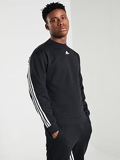 adidas-3-stripe-crew-neck-sweat-black
