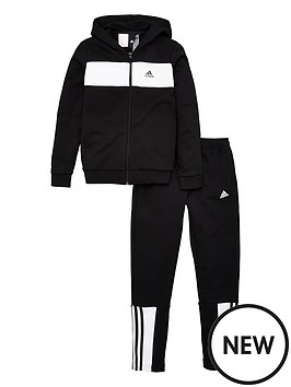 46fa6a0d02 adidas Youth Cotton Tracksuit - Black/White | littlewoodsireland.ie