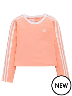c469c9d6 adidas Originals Youth 3 Stripe Long Sleeve Crop Top - Pink/White