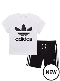 adidas-originals-little-kids-short-and-t-shirt-set-blackwhite