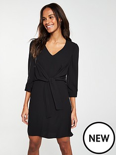 v-by-very-knot-waist-v-neck-tunic-dress-ndash-black
