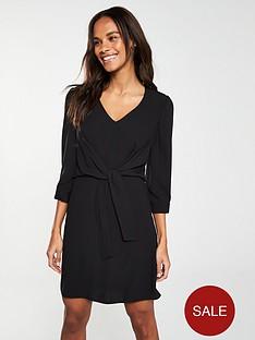 v-by-very-knot-waist-v-neck-tunic-dress-ndash-black