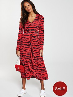 v-by-very-ruffled-animal-print-v-neck-midi-dress-red