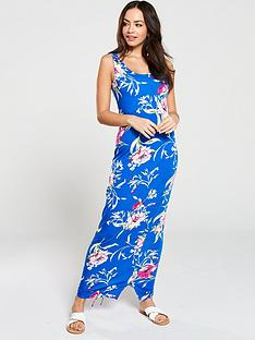 v-by-very-side-gathered-floral-jersey-maxi-dress-blue