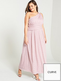 89d5b1702393 Little Mistress Curve One Shoulder Corsage Maxi Dress - Rose