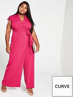 0782e1f5a11 Little Mistress Curve Wrap Lace Back Jumpsuit - Pink