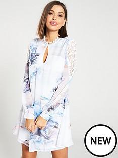 7839ee9ab7 Little Mistress High Neck Lace Mini Shift Dress - Multi