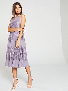 d25a6b3336fd8 Little Mistress Lace Insert Sleeveless Midi Dress – Lavender