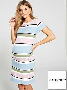 mama-licious-mamalicious-maternity-jersey-striped-ribbed-colour-block-dress