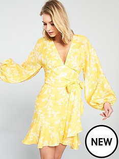 keepsake-fallen-long-sleeve-printed-mini-dress-yellow